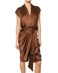 Lanvin | Brown Draped Washed Silk Satin Dress | Lyst