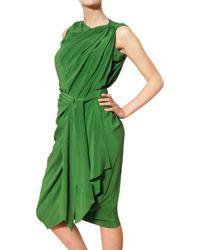 Lanvin - Green Draped Silk Satin Dress - Lyst