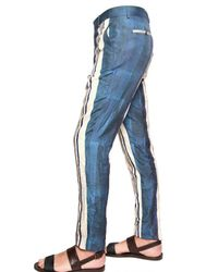 Lanvin | Blue Washed Silk Satin Striped Trousers for Men | Lyst