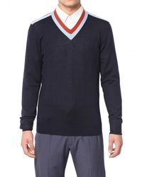 Marc Jacobs | Blue Light Wool Knit V-neck Sweater for Men | Lyst