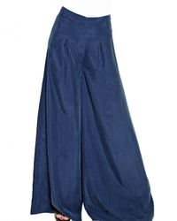 MICHAEL Michael Kors | Blue Silk Habotai Super Wide Leg Trousers | Lyst