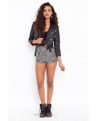 Nasty Gal - Black Animalistic Tap Shorts - Lyst