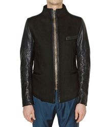 Paul Smith | Black Wool Felt and Calfskin Jacket for Men | Lyst