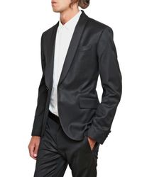 Balmain | Black Cinzato Wool Cloth Stretch Tuxedo Suit for Men | Lyst