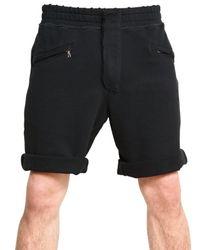 Balmain | Black Raw Cut Fleece Shorts for Men | Lyst