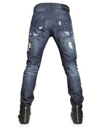 Balmain - Blue 17cm Destroyed Denim Skinny Fit Jeans for Men - Lyst
