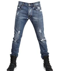 Balmain | Blue 17cm Distressed Denim Skinny Fit Jeans for Men | Lyst