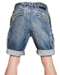 Balmain - Blue Destroyed Washed Denim Shorts for Men - Lyst
