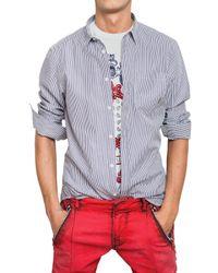 Balmain | Blue Logo Plaque Striped Poplin Shirt for Men | Lyst