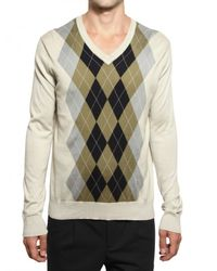 Pringle of Scotland | Multicolor Cotton Knit Arghyle V-neck Sweater for Men | Lyst
