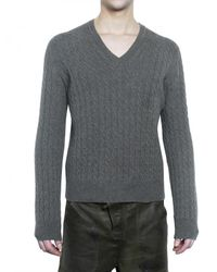 Pringle of Scotland - Gray Wool and Cashmere Cable Knit Sweater for Men - Lyst