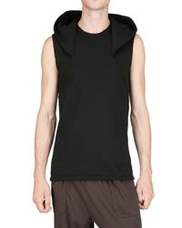 Rick Owens | Black Cotton Fleece Hooded Vest Sweatshirt for Men | Lyst