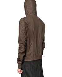 Rick Owens | Brown Velo Soft Hooded Leather Jacket for Men | Lyst