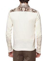 Roberto Cavalli - Natural Desert Snake Skin Cotton Knit Sweater for Men - Lyst