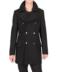 Roberto Cavalli | Black Wool Pea Coat for Men | Lyst