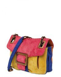Roger Vivier - Multicolor Metro Micro Suede Shoulder Bag - Lyst