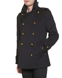 Simon Spurr | Black Melton Pea Coat for Men | Lyst