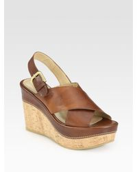 Stuart Weitzman | Brown Exhale Leather Slingback Cork Wedge Sandals | Lyst