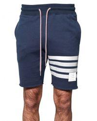 Thom Browne - Blue Raw Cut Cotton Fleece Shorts for Men - Lyst