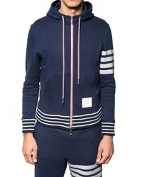 Thom Browne | Blue Stripey Cotton Fleece Hooded Sweatshirt for Men | Lyst