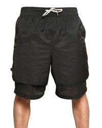 Tom Rebl | Black Double Layered Cotton Nylon Shorts for Men | Lyst