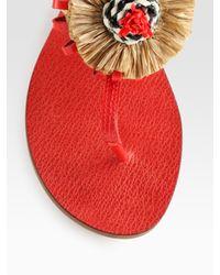 Tory Burch - Natural Burt Woven Leather & Ribbon Thong Sandals - Lyst