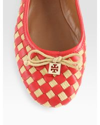 Tory Burch | Multicolor Prescot Woven Leather Bow Ballet Flats | Lyst