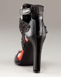 Alexander Wang - Black Chloe Mixed-Media Ankle-Wrap Sandal - Lyst