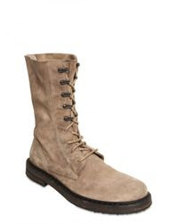Ann Demeulemeester - Natural Waxed Suede Lace Up Boots for Men - Lyst