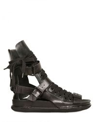 Ann Demeulemeester | Black Cut Out Calfskin Sandals for Men | Lyst