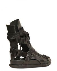 Ann Demeulemeester - Black Cut Out Calfskin Sandals for Men - Lyst
