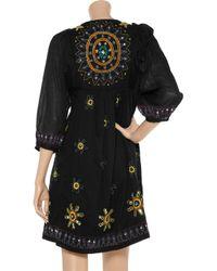 Antik Batik - Black Hippy Embroidered Cotton Dress - Lyst