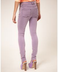 ASOS Collection - Purple Asos High Waisted Skinny Jean in Lilac - Lyst