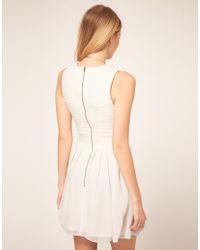 ASOS Collection | White Asos Petite Exclusive Dress with Chiffon Mini Skirt and Zip Back | Lyst