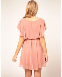 ASOS | Pink Maternity Dress With Ruffle Sleeve | Lyst