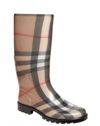 Burberry - Black Check Rain Boots - Lyst
