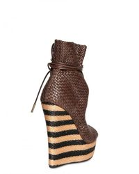 Burberry Prorsum - Brown Woven Wedge Bootie - Lyst