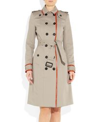 Burberry Prorsum - Natural Leather-trimmed Cotton-gabardine Trench Coat - Lyst