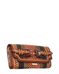 Burberry Prorsum - Brown Woven Leather Clutch - Lyst