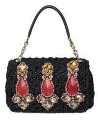 Dolce & Gabbana | Black Miss Charles Jewelled Raffia Top Handle | Lyst