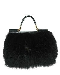 Dolce & Gabbana | Black Miss Sicily Mongolia Fur Top Handle | Lyst