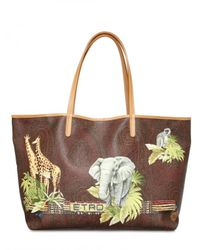 Etro | Brown Jungle Print Pvc Tote | Lyst