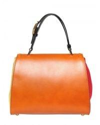Fendi - Orange Silvana Leather & Cotton Top Handle - Lyst