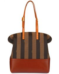 Fendi | Brown 2bag Pequin Jacquard Calfskin Top Handle | Lyst