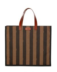 Fendi | Brown Pequin Striped Shopping Tote | Lyst