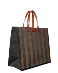 Fendi - Brown Pequin Striped Shopping Tote - Lyst