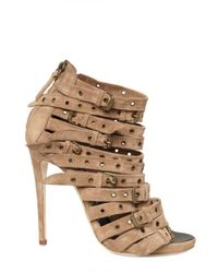 Giuseppe Zanotti - Natural 120mm Suede Buckled Strap Sandals - Lyst