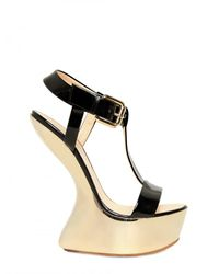Giuseppe Zanotti - Black 155mm Patent Mirror Sculpture Wedges - Lyst