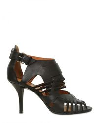 Givenchy | Black 80mm Leather & Suede Cage Sandals | Lyst