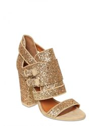 Givenchy | Metallic 100mm Glitter Buckled Sandals | Lyst
